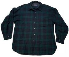 Vtg Pendleton Green Blue Shadow Plaid Flannel Wool Casual Board Shirt XL Blemish