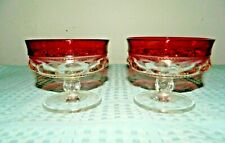 Indiana Red Cranberry Flash Rimmed Kings Crown Pair of Footed Bowls