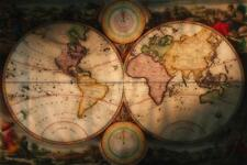 Exploration and Navigational Illustrated Antique Style Map Poster 24x36 inch