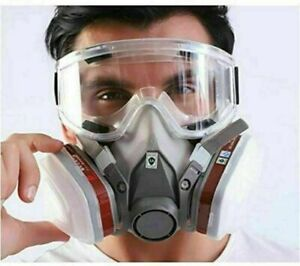 7 IN 1 6200 Gas Mask Facepiece Spray Painting Respirator + goggles Safety Work #