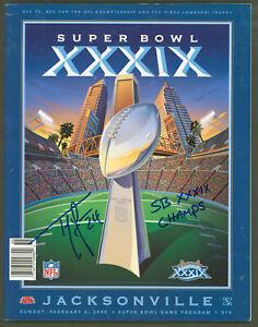 """Patriots Ty Law """"SB XXXIX Champs"""" Signed SB XXXIX Program BAS Witnessed #WK36959"""
