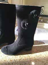 CHANEL black sueded felt boots size 39, cap toe, 1.5 inch heel, camellias