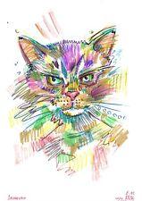 original drawing A4 121VE art samovar kraft paper Colored marker cat Signed 2020