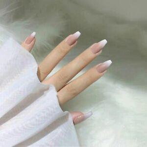 Gradient False Nail Tips French Ballerina Press On Nails Artificial Nail Tips