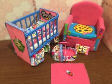 Barbie Baby Nursery Set Furniture Crib,Sofa ,Carrier.Shopkins