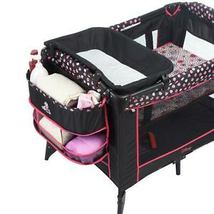 Baby Play Yard Newborn Bassinet  Open View Breathable Mesh Minnie Mash Up