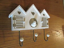 Heaven Sends Shabby Chic White Wooden Birdhouse Wall Hook  Opening Doors 25cm