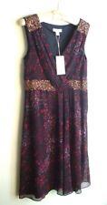 NEW MONSOON 'Magnolia' Black Floral Print Wrap Style Hand-Beaded Dress UK 12