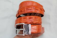 New Casual Men's Belt Genuine Alligator ,Crocodile Leather Skin Orange #TGN096