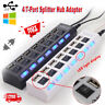 4/7-Port USB 3.0 Hub w/ High Speed Adapter ON/OFF Switch for Laptop PC Splitter