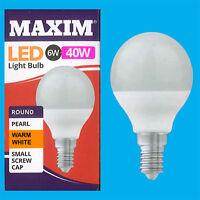 8x 6W G45 Golf Ball LED Light Bulb, Round E14 SES 2700K Warm White Lamp
