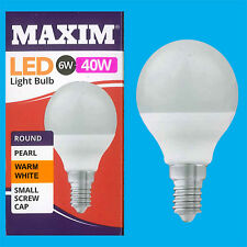 6x 6W G45 Golf Ball LED Light Bulb, Round E14 SES 2700K Warm White Lamp