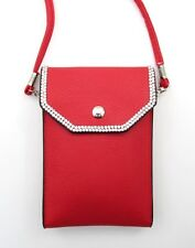 RED CROSSBODY BAG ~ SHOULDER STRAP or CLUTCH CLUB BAG RED with CRYSTALS ~ NEW