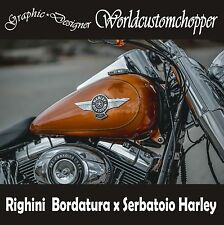 COPPIA ADESIVI RIGHINI SINGOLA BORDATURA X SERBATOIO MOTO CUSTOM HARLEY DAVIDSON