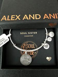 Alex and Ani Soul Sister II Rafaelian Silver Bangle New W/ Tag Card & Box