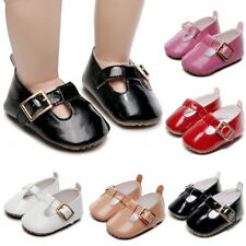 Infant Kids Baby Girls Patent Leather Cute First Walk Buckle Strap Casual Shoes
