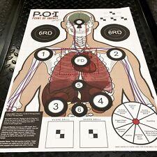 20 Paper Targets Range Gun Pistol Rifle Skelton Vital Organs Shooting Drills.
