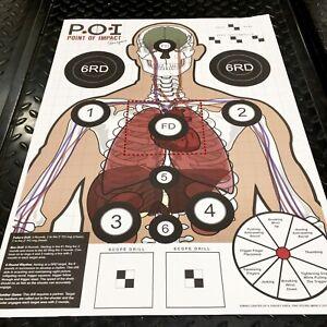 25 Paper Shooting Targets Range Gun Pistol Rifle Skeleton Vital Organs w/ Drills