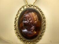 Antique Vintage Tortoise Glass Carved Cameo Necklace Victorian Edwardian