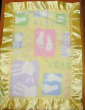 BABY HAND AND FEET Fleece & Satin Baby/Toddler Security Blanket