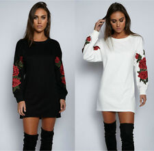 Womens Floral Hoodies Pullover Sweatshirt Embroidery Jumper Top Short Mini Dress