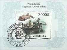 Timbre Poissons Bateaux Comores BF253 o année 2010 lot 14677 - cote : 21 €