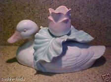 Vintage Fitz & Floyd White Duck Candle Holder Ceramic Large Rose Japan Made In