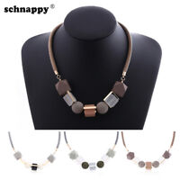 Geometrical Women Necklace Statement Pendants Wood Beads Girl Necklaces Jewelry
