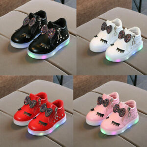 Kids LED Luminous Shoe Sneakers Flashing Children Girls Light Up Trainers New UK