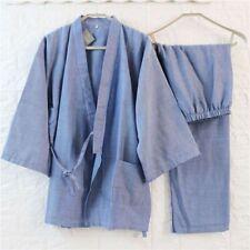 New Mens Chinese Japanese Oriental Plain Zen Blue Kimono Pyjamas menpjs46