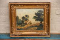 19th c old Belgian oil panel landscape house flemish field painting