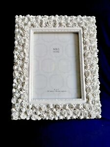 """MARKS & SPENCERS PHOTO FRAME WHITES ROSES CARVED RESIN SHABBY SHEEK WEDDING 5X7"""""""