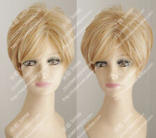 100% Real Hair!Beautiful Blonde Streaked Wig Fashion BoBo Wig Hair Human Hair