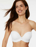 MARKS & SPENCER M&S LOUISA LACE PADDED PLUNGE STRAPLESS MULTIWAY WHITE BRA