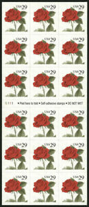 RED ROSE BOOKLET PANE OF 18 STAMPS #2490a 29 CENT 1993  FLOWERS MINT