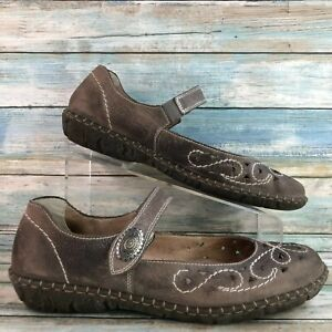 Rieker Womens Brown Leather Casual Mary Jane Flats Shoes Size 11.5M