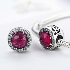 S925 Silver Cerise Crystal Radiant Rose Charm With Cubic Zirconia Studs