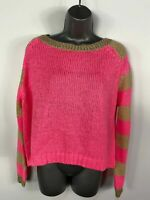 WOMENS RIVER ISLAND UK 8 PINK/GOLD KNITTED STRIPED LONG SLEEVE JUMPER PULL OVER