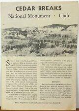 1956 Cedar Breaks National Monument Utah vintage informational brochure map b