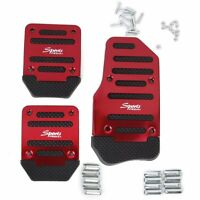 Red 3 Pcs Car Manual Gear Throttle Brake Clutch Non-Slip Foot Pedal Cover Set