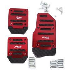 Red 3 Pcs Car Manual Gear Throttle Brake Clutch Non-Slip Foot Pedal Cover Set