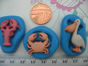 Small Pelican Lobster Crab Beach Sea Silicone Mould Sugar Craft, Cupcake Topper