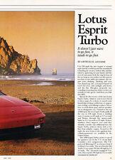 1988 Lotus Esprit Turbo - road test -  Classic Article A91-B
