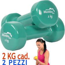 Msd 2 MANUBRI 2 Kg cad. VINILE LAVABILE VERDE peso total 4 Kg Pesi Sport Braccia