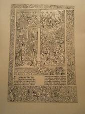 Planche gravure Moyen age La mer des Hystoires Baptéme Clovis/ bataille Tolbiac