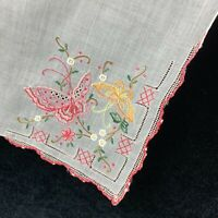 Vintage Embroidered White Handkerchief Pink Yellow Butterflies Floral Crochet