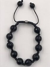 "12mm Genuine Faceted Black Onyx Macrame Shamballa Beaded Bracelet 7"" - 8.5"""