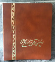 Vtg MARQUETTE Photograph Album MID CENTURY Brown Faux Leather Gold Embossing USA
