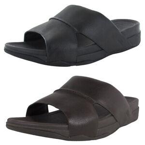 Fitflop Men Bando Slide In Lizard Printed Leather Shoe