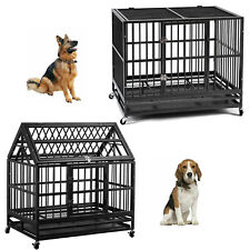 "36"" Heavy Duty Dog Cage Pet Crates with Wheels Removable Tray Steel Dog House"